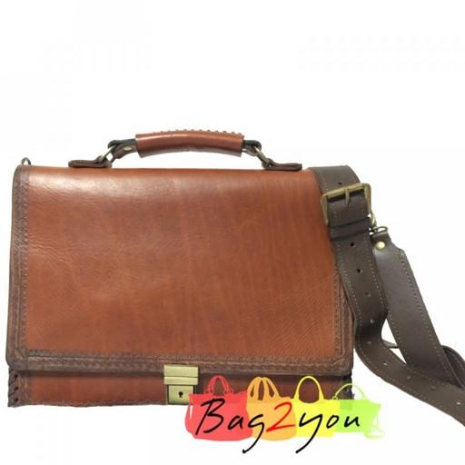 Мужской портфель из натуральной кожи-кожа буйвола