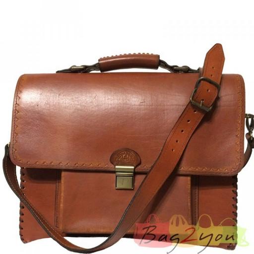 Винтажный мужской портфель из бизона