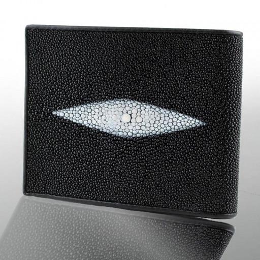 Черное кожаное портмоне - из кожи ската