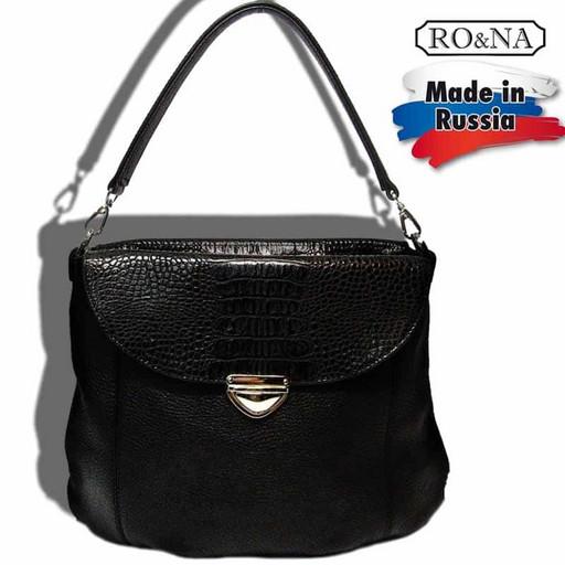 Женская кожаная сумка со съемной ручкой и ремнем через плечо-RO&NA