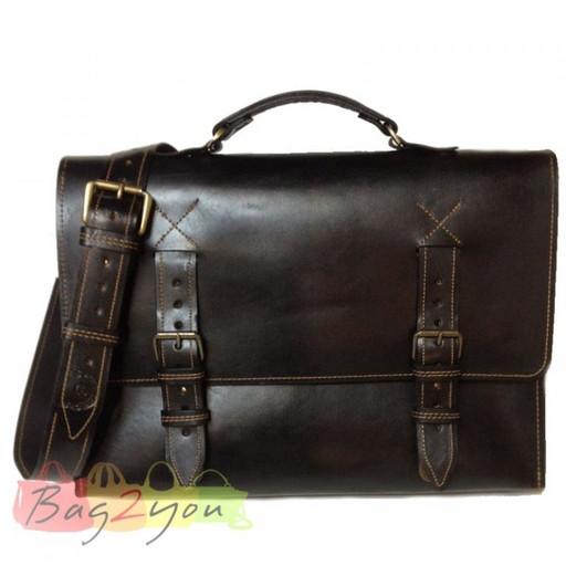 Кожаный мужской портфель из бизона