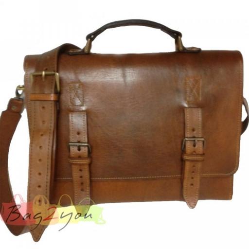 Кожаная мужская сумка портфель  - дизайнерская модель из буйволиной кожи