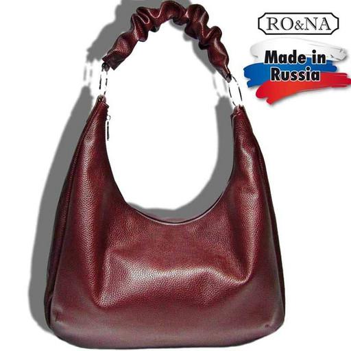 Женская кожаная сумка на плечо - Хобо с гофрированной ручкой