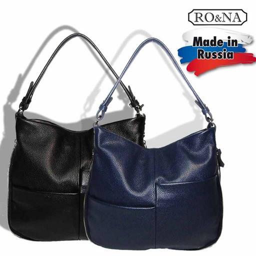 Женская кожаная сумка с наружными карманами-RONA