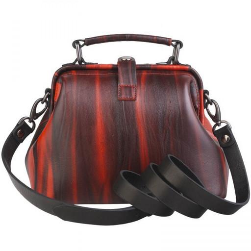 Красно черная сумка, женская, кожаная, через плечо