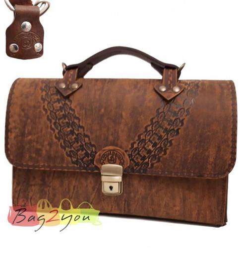 Кожаный, мужской портфель ручной работы - из бизоньей кожи