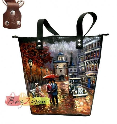 Женская сумка из кожи изготовлена ручной работой - с рисунком осень