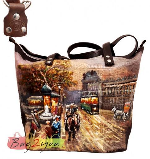 Натуральная сумка из кожи на плечо с рисунком - Осень