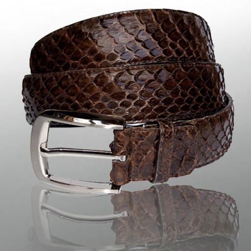 Ремень кожаный, мужской - коричневый из питона
