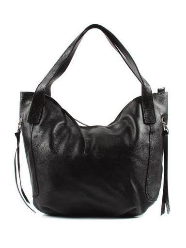 Черная кожаная сумка на плечо 9880