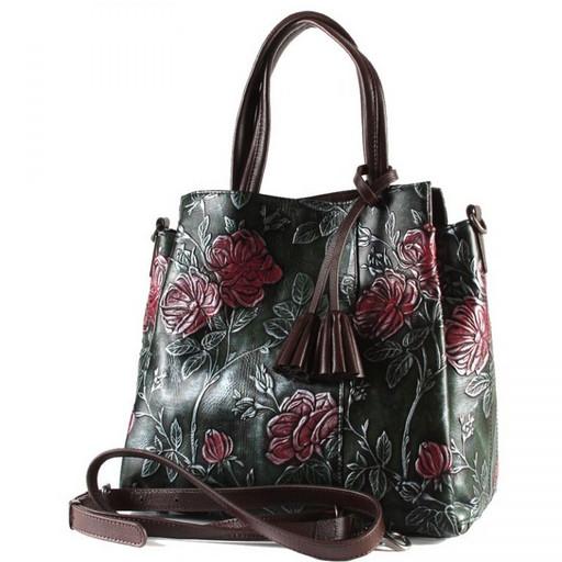 Красивая сумка кожаная с цветами