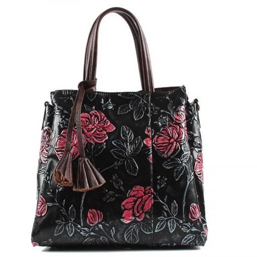 Черная сумка с красными цветами 83289