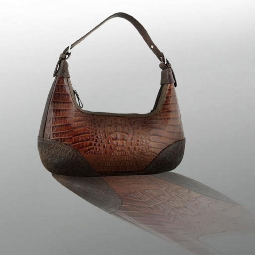 Кожаная, женская сумка премиум - из крокодила и страуса