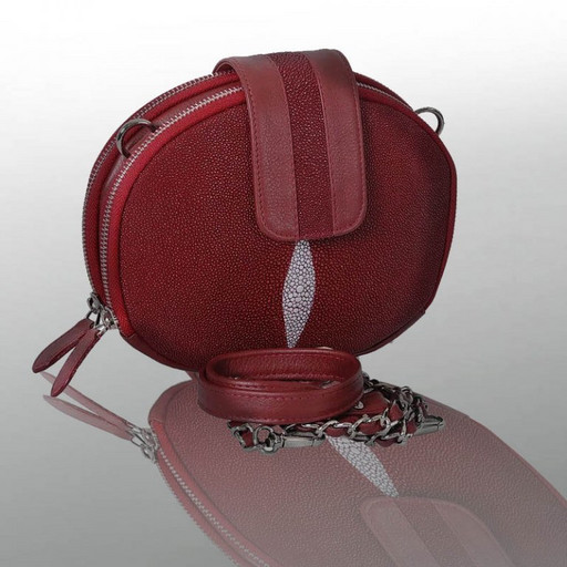 Женская сумка кожаная, круглая из ската