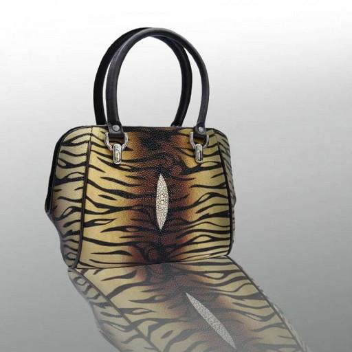 Кожаная сумка леопардовая - из ската