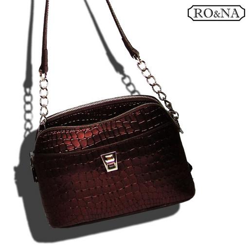 Бордовая сумка из натуральной кожи - кросс боди металлик