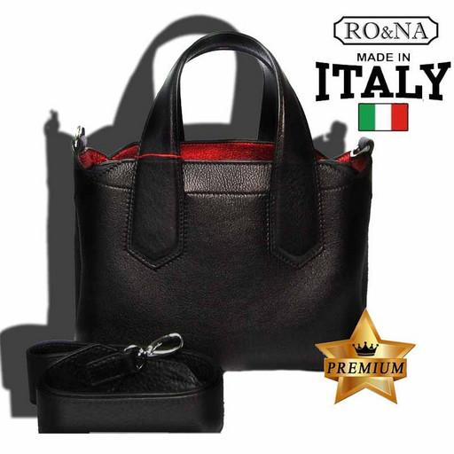 Женская кожаная сумка Италия - на молнии с хлястиком