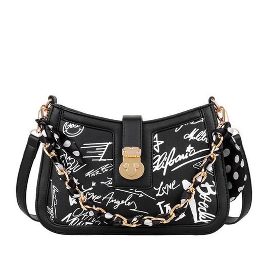 Женская сумка через плечо-кросс боби с текстом граффити