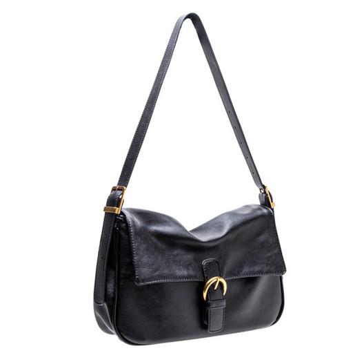 Мягкая женская сумка с длинной плоской ручкой на плечо