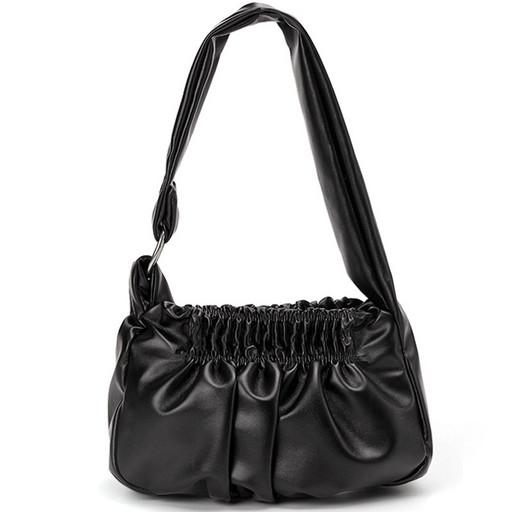 купить, женская, сумка, багет, кнопка, на плечо, повседневная, черная, интернет магазин