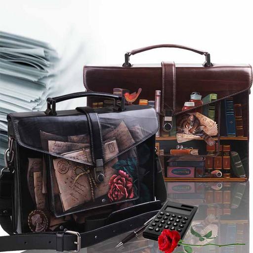 Кожаный портфель с дизайнерским рисунком от Alexander TS