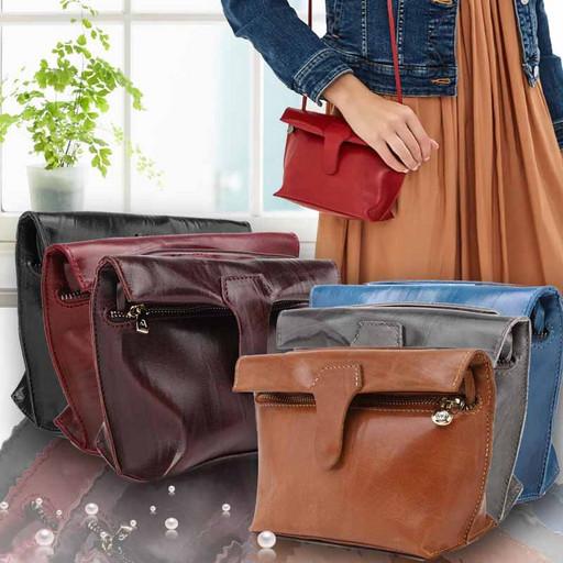 Маленькая сумка-клатч из натуральной гладкой кожи-Краст