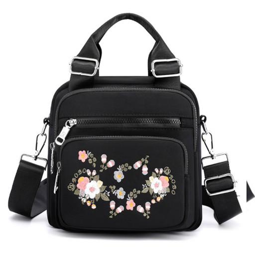 купить, женская, сумка, рюкзак, трансформер, из ткани, черная, с цветами, рисунок