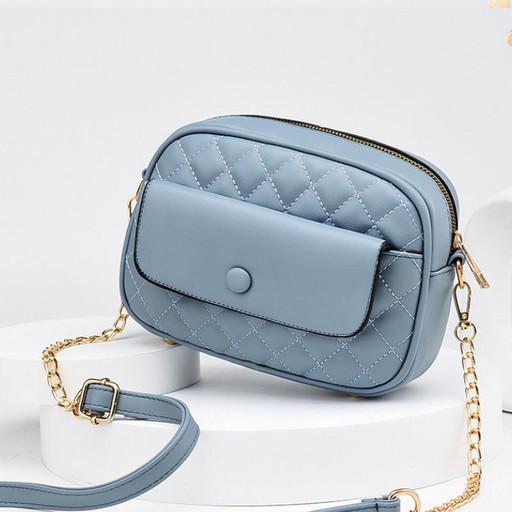 купить, маленькая, женская, сумка, на цепочке, стеганая, кросс боди, серо голубая