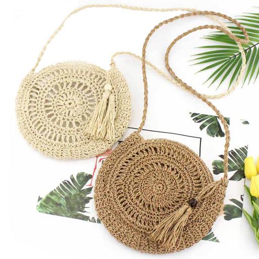 Круглая сумка - плетеная летняя модель