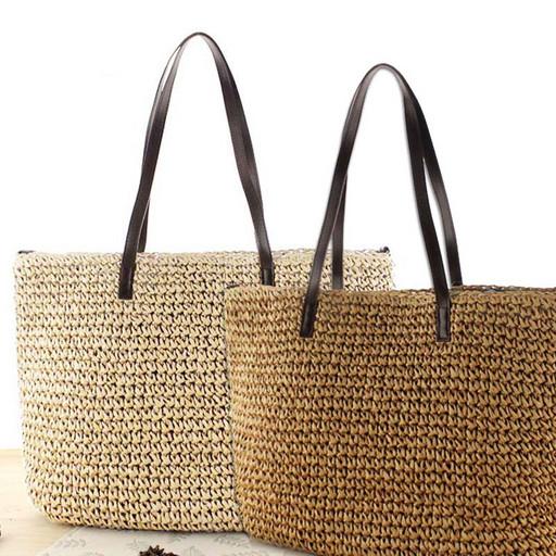 Большая соломенная сумка на плечо - плетеная