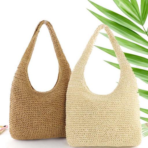 Женская сумка хобо плетеная - соломенная