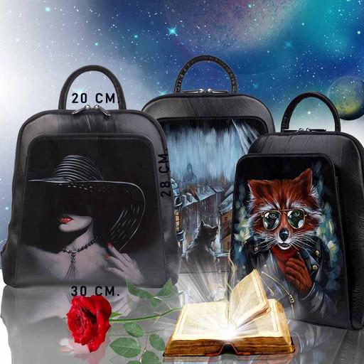 Кожаный женский рюкзак с дизайнерским рисунком - черный