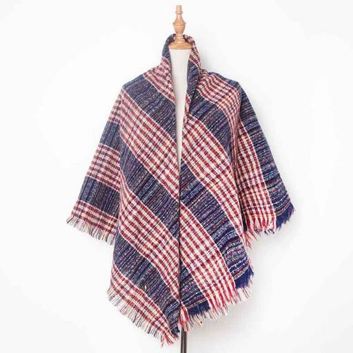 Теплый женский платок-шаль: красно синий в полоску и клетку