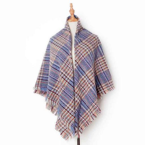 Теплый женский платок-шаль: синий с голубым в полоску и клетку