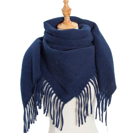 Теплый синий платок - однотонная шаль