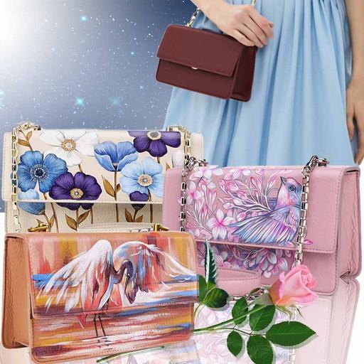 Дизайнерская женская сумка с ручной росписью на натуральной коже