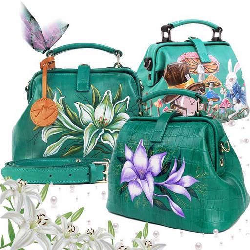 Кожаная сумка с рисунком - изумрудно зеленая