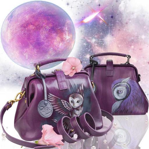Фиолетовая сумка саквояж с рисунком - дизайнерская ручная работа