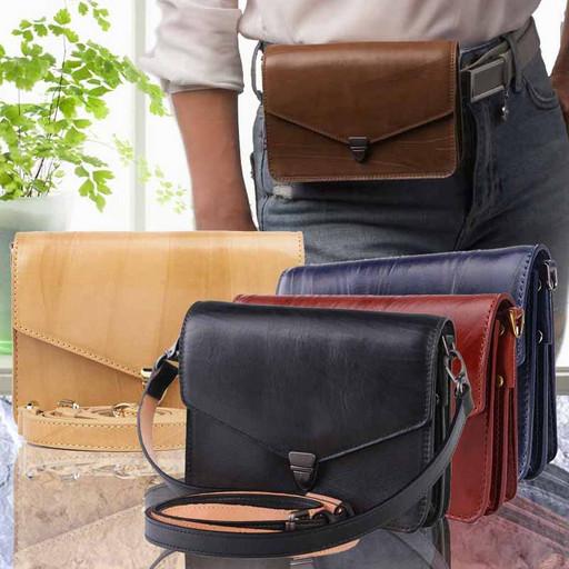 Женская кожаная сумка - поясная из кожи Краст