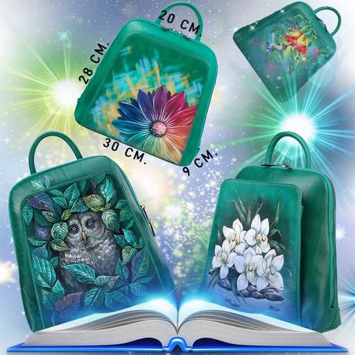 Дизайнерский женский рюкзак с росписью на коже - изумрудный зеленый