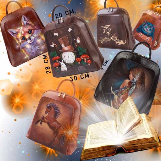Дизайнерский женский рюкзак с росписью на коже - коричневый