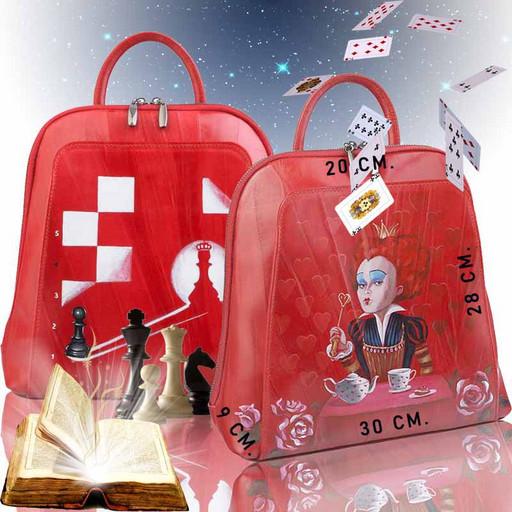 Красный кожаный рюкзак - с дизайнерской росписью