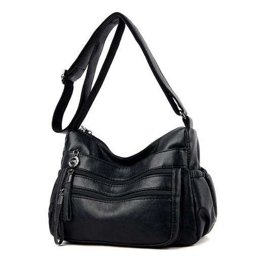 Женская сумка через плечо - много наружных карманов