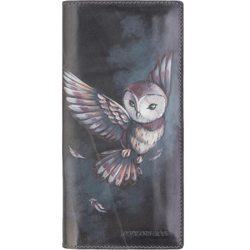 Кожаное портмоне - вертикальное с рисунком на коже