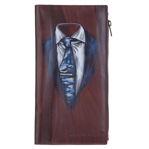Вертикальное портмоне - мужской Лонгер с ручной росписью