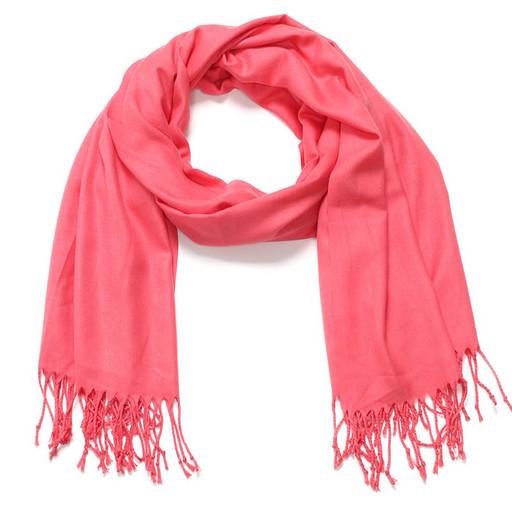Теплый шарф - коралловый розовый