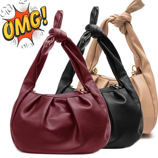 Женская мягкая сумка с завязывающейся ручкой