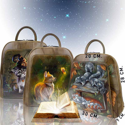 Кожаный женский рюкзак с дизайнерской росписью - оливковый