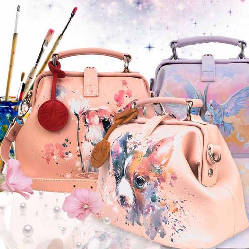 Женская сумка с рисунком ручной росписью - светло розовая акварель