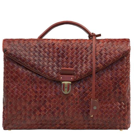 Мужской портфель из плетенной, натуральной кожи - конверт